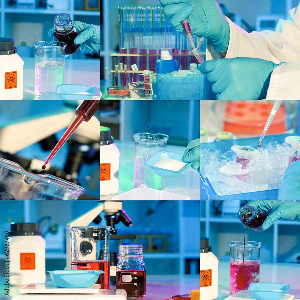 Fényképezés  researchers work in modern scientific lab, collage. Preparation