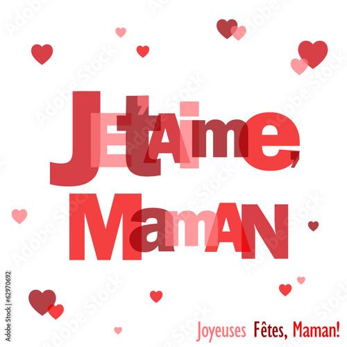 Carte Je Taime Maman Fête Des Mères Message Amour Coeur