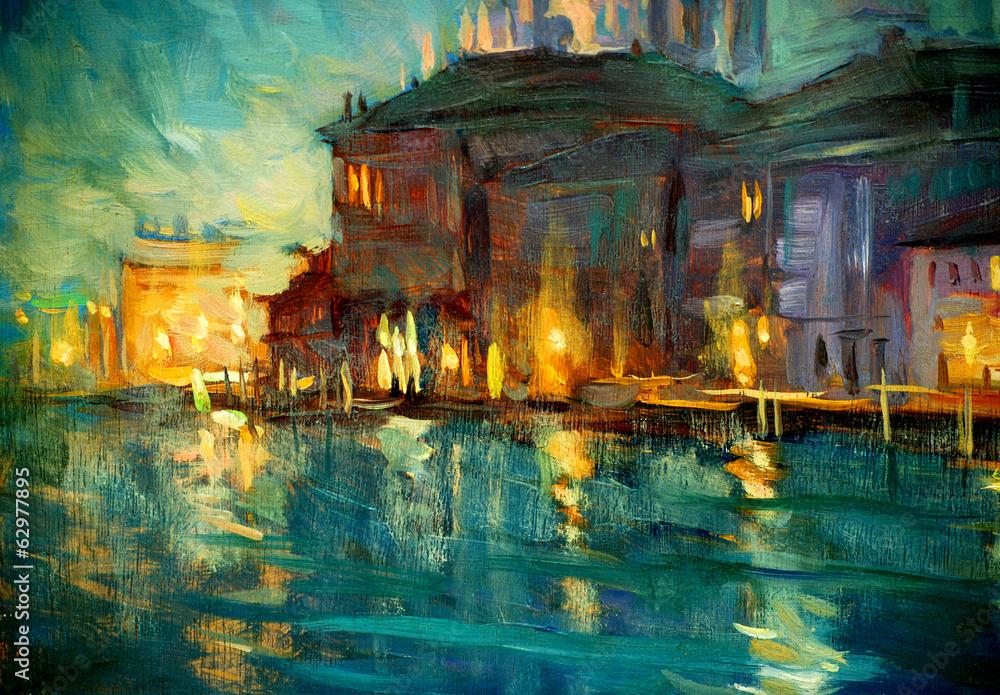 Fototapeta night landscape to venice, painting by oil on plywood, illustrat