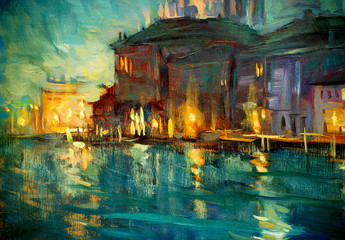 Fototapeta Wenecja night landscape to venice, painting by oil on plywood, illustrat