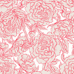 Panel Szklany Peonie seamless red and beige peonies