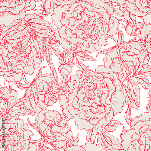 seamless red and beige peonies - 62978087