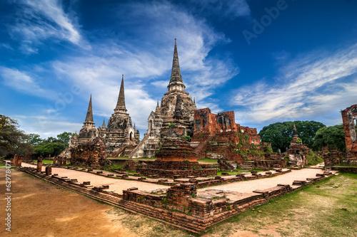 Ancient ruins of Wat Phra Sri Sanphet. Ayutthaya, Thailand Wallpaper Mural