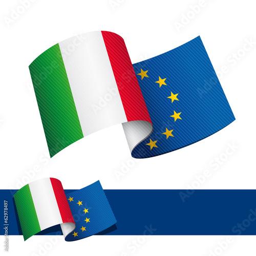 Poster  Bandiera Italia Europa