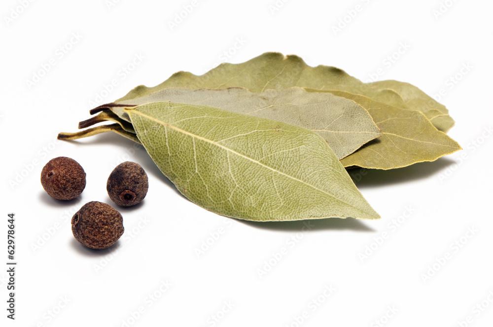 Fototapety, obrazy: Allspice and bay leaf