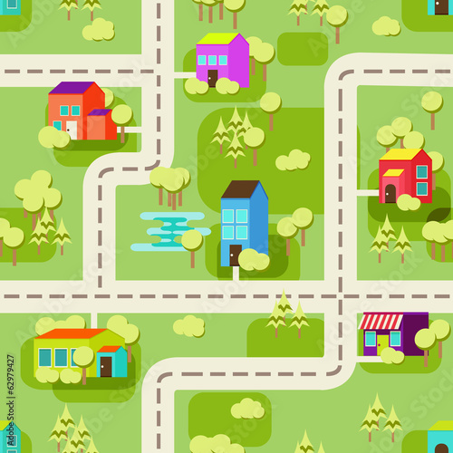 Deurstickers Op straat town concept background. Flat Seamless pattern with colorful