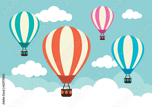Canvas-taulu Hot Air Balloons and Clouds