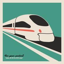 Train, Railway Emblem. Flat Vector Design
