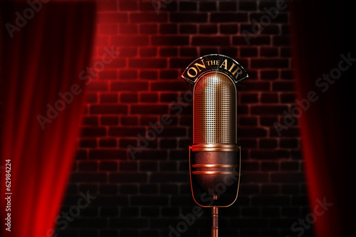Fotografie, Obraz  Vintage microphone on red cabaret stage