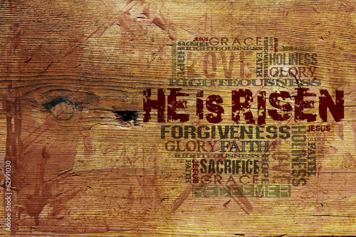 "Fotografie, Tablou  ""He Is Risen""Easter Background"