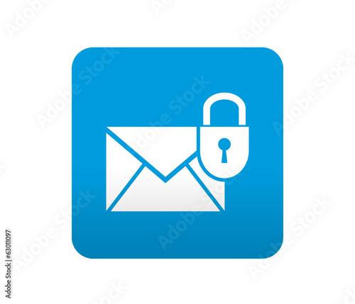 Fotografie, Obraz  Etiqueta tipo app azul simbolo correo seguro