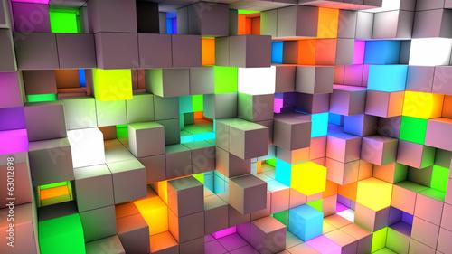 plakat Kolor kostki streszczenie tło światło