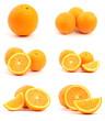 Set of oranges isolated on white