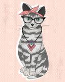 Śliczny hipster rockabilly kot z szalikiem, okularami i necklac - 63019239