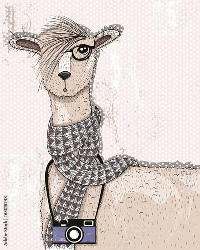 Ładny hipster lama z aparatem, okularami i szalikiem