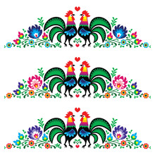 Polish Floral Folk Long Embroidery Pattern With Roosters