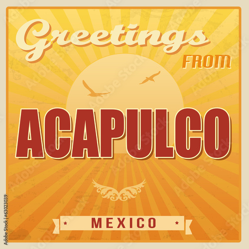 Fotografija  Acapulco vintage poster