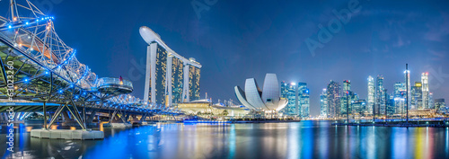 Singapore city at night Canvas Print