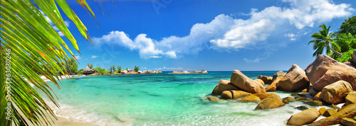 Ingelijste posters Eiland tropical holidays in paradise of Seychelles islands