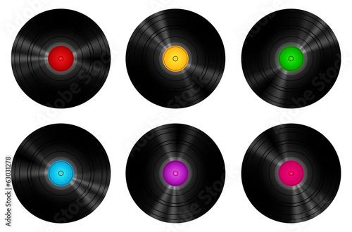 Fotografía  Vintage Vinyl Records Set Isolated On White Vector Illustration