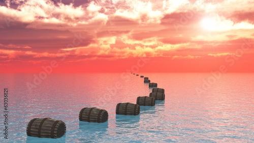 Papiers peints Corail tonneaux sur la mer