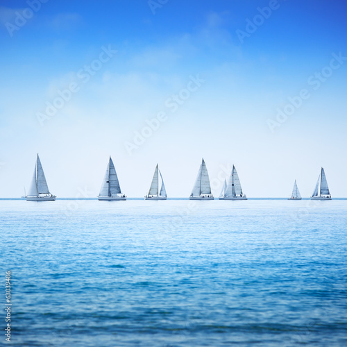 Obraz na plátne Sailing boat yacht regatta race on sea or ocean water