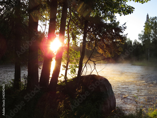 Foto op Canvas Tuin beautiful sunrise on forest river
