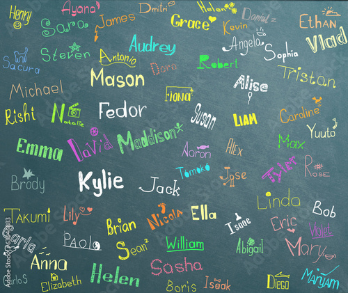 Fotografía  The names and pictures of children at school board