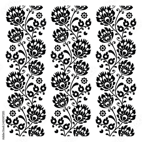 Seamless traditional folk polish pattern in black