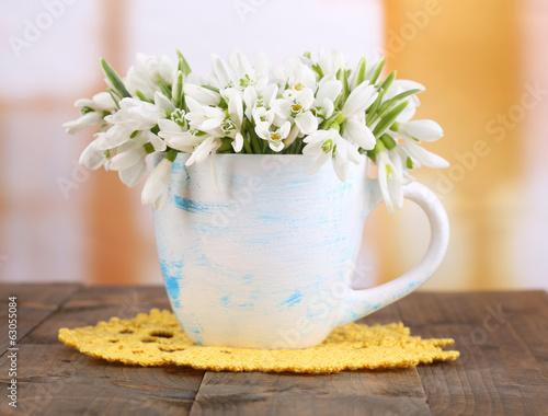 Fototapety, obrazy: Beautiful snowdrops in vase,