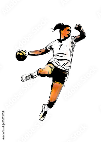 woman handball player Fototapet