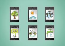 Mobile Phone Apps Eco Concept Idea Illustration