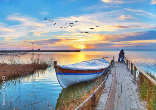 Poster Bleu paisaje de un lago en españa