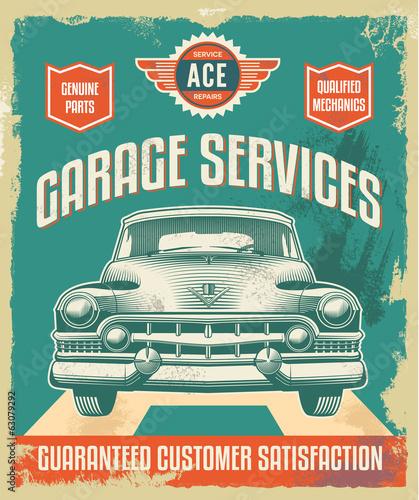 fototapeta na lodówkę Vintage znak - Plakat reklamowy - Klasyczny samochód - garaż