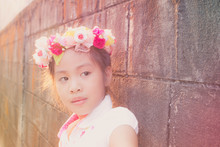 Beautiful Little Girl With Flowers On The Head, Vintage Texture