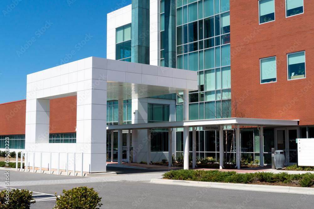 Fototapeta The modern medical building main entrance