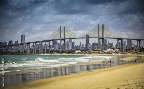 Poster Brésil City of Natal beach with Navarro Bridge, Brazil