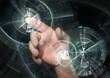 Hand pointing behind shiny circles