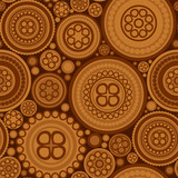 Seamless pattern with brown dotted circles - abstract background