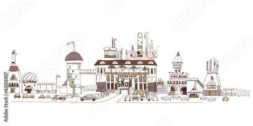 Foto auf AluDibond Gezeichnet Straßenkaffee Shopping centre illustration with cafes, restaurants, cinema
