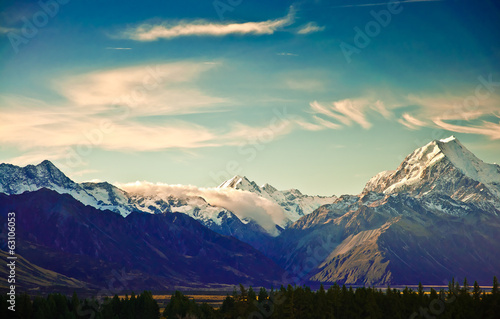 Fotografie, Obraz  Nový Zéland malebné horské krajiny střílel na Mount Cook Nationa