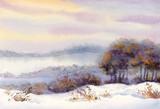 Akwarela zimowy krajobraz. Ośnieżona dolina i drzewa na th - 63115633