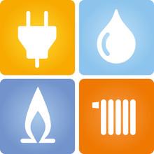 4 Symbole Strom Gas Wasser Wä...