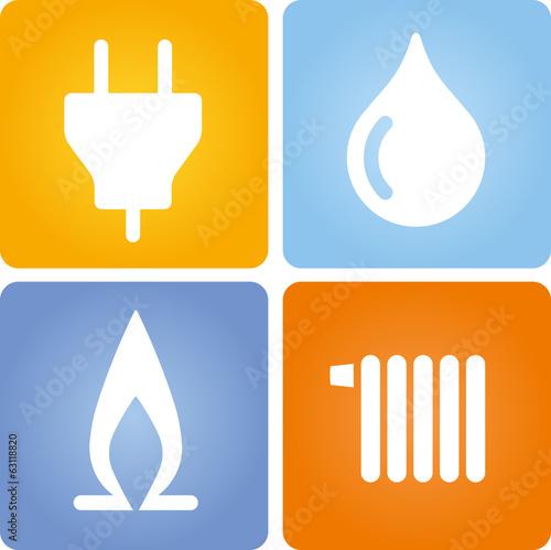 Fotografie, Obraz  4 Symbole Strom Gas Wasser Wärme