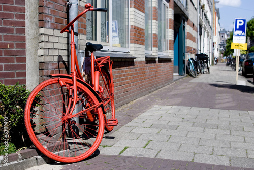 Fototapety, obrazy: red bicycle parked