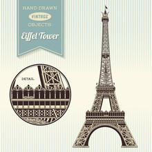 Hand-drawn Vintage Eiffel Tower Illustration