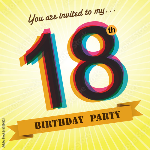 18th Birthday Party Invite Template Design Retro Style Vector
