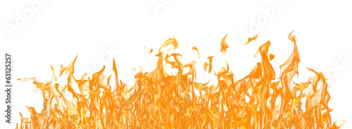 Photo Stands Fire / Flame yellow fire long strip isolated on white