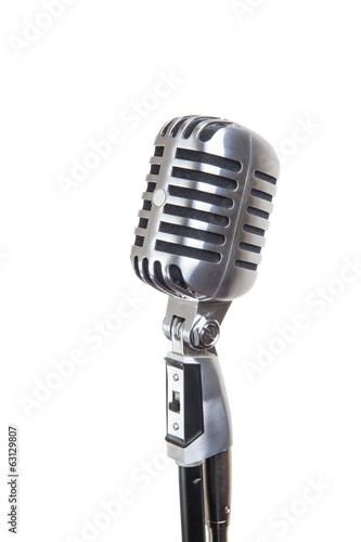 Foto op Plexiglas Retro vintage microphone isolated on white