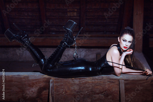 Fotografie, Obraz  Sexy woman in catsuit